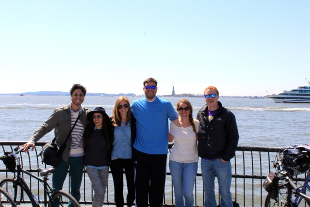 BIKE FRIENDS IN FRONT OF LADY LIBERTY