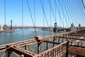 VIEW ON TOP OF BROOKLYN BRIDGE
